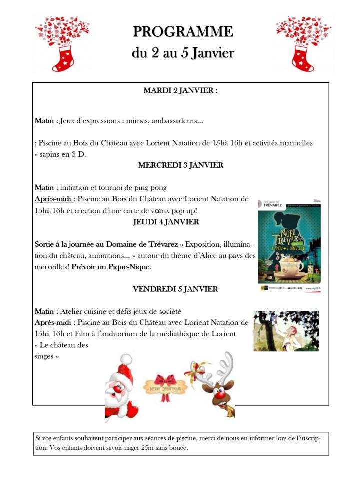 Programme Enfance Des Vacances De Noel 2017 L Information De Bois